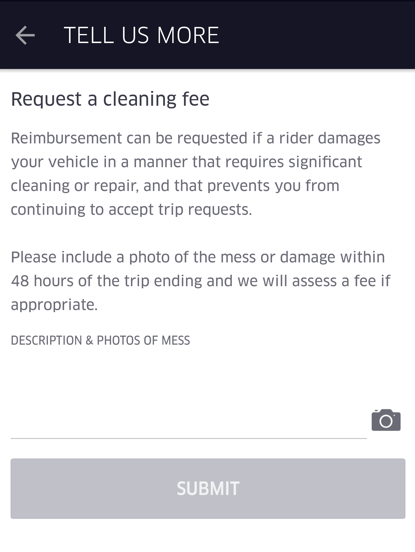 Getting a Clean Up Fee from Uber or Lyft 2