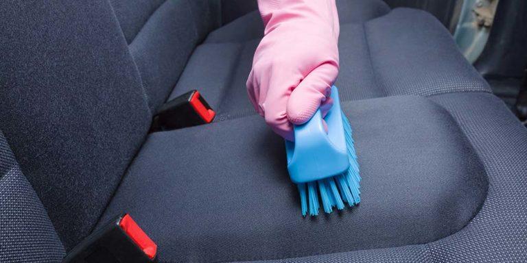 Scrubbing Back Seat of Car