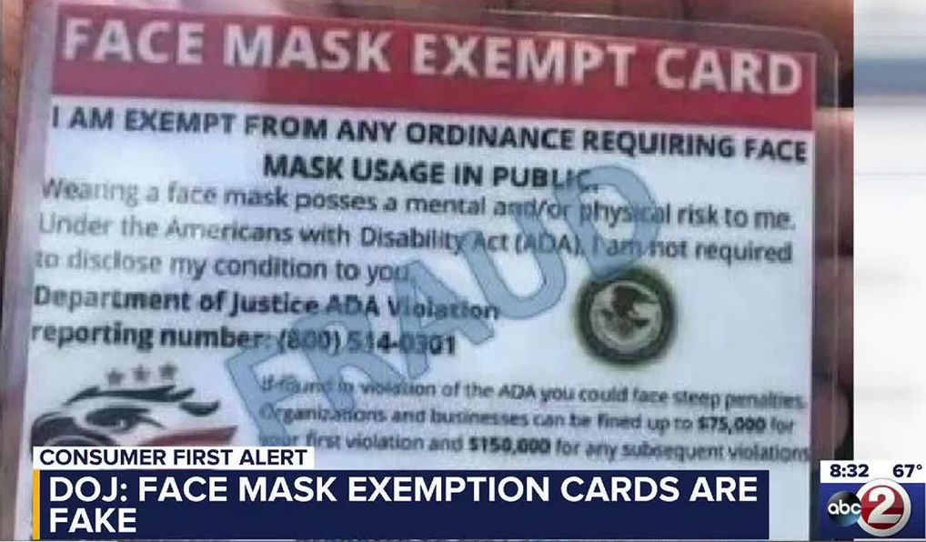 Fake face mask exemption cards are fake