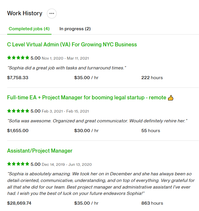 Sample of Work History with Reviews